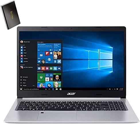 "Acer Aspire 5 15.6"" FHD Laptop Computer, Intel Core i3 1005G1 Up to 3.4GHz, 8GB DDR4 RAM, 128GB PCIe SSD, WiFi 6, Type-C, Backlit Keyboard, Fingerprint Reader, Windows 10 S, BROAGE 500GB External HD"