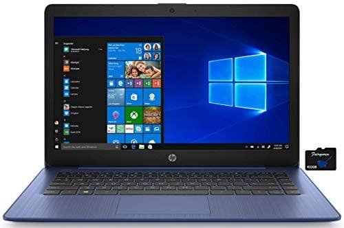 2021 HP Stream 14 inch HD Laptop PC, Intel Celeron N4000, 4GB RAM, 64GB eMMC, WiFi, Bluetooth, Webcam, HDMI, Windows 10 S with Office 365 Personal for 1 Year + Fairywren Card (Blue)