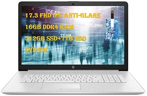 "2020 HP Laptop 17 Newest Business Laptop Computer 17.3"" Full HD IPS 10th Gen Intel Quad-Core i5-1035G1(>i7-8550U) 16GB DDR4 RAM, 512GB SSD 1TB HDD Backlit KB WiFi Win 10 with E.S Holiday 32GB USB Card"
