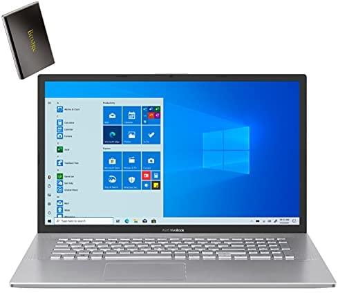"ASUS Vivobook 17 17.3"" HD+ Laptop Computer, Intel Quard-Core i7 1065G7 up to 3.9GHz, 16GB DDR4 RAM, 1TB PCIe SSD, AC WiFi, Bluetooth, Webcam, Silver, Windows 10 S, BROAGE 320GB External Hard Drive"
