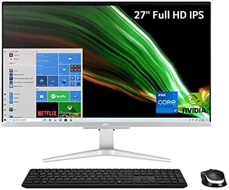 """Acer Aspire C27-1655-UA93 AIO Desktop   27"""" Full HD IPS Display   11th Gen Intel Core i7-1165G7   NVIDIA GeForce MX330   16GB DDR4   512GB SSD   1TB HDD   Intel Wireless Wi-Fi 6   Windows 10 Pro"""