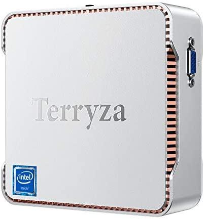 Terryzα Mini PC Windows 10 Pro, Mini Desktop Computer Intel Celeron N3350 8GB DDR3 128GB SSD 4K, HDMI x2, Dual Band WiFi, Gigabit Ethernet, BT 4.2 Micro PC