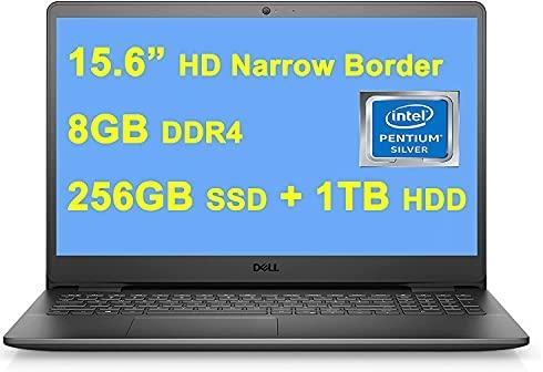 """Dell 2021 Premium Inspiron 3000 3502 15 Laptop I 15.6"""" HD Narrow Border Display I Intel 4-Core Pentium Silver N5030 I 8GB DDR4 256GB SSD + 1TB HDD I USB 3.2 Win10 Black + 32GB MicroSD Card"""