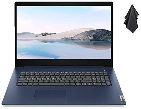 """2021 Newest Lenovo IdeaPad 3 Laptop, 17.3"""" HD+ Display, Intel Core i5-1035G1 Processor (Beats i7-8565U), 20GB DDR4 RAM, 512GB PCIe SSD, HDMI, Bluetooth, Wi-Fi, Webcam, Windows 10, Blue + Oydisen Cloth"""