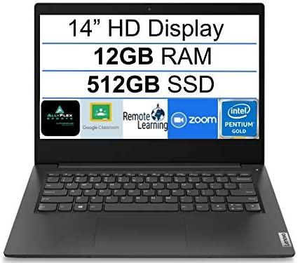 """Newest Lenovo Ideapad 3 14"""" HD Display Premium Laptop, Intel Pentium Gold 6405U 2.4 GHz, 12GB DDR4 RAM, 512GB SSD, Bluetooth 5.0, Webcam,WiFi,, HDMI, Windows 10 S, Black + AllyFlex Mouspad"""