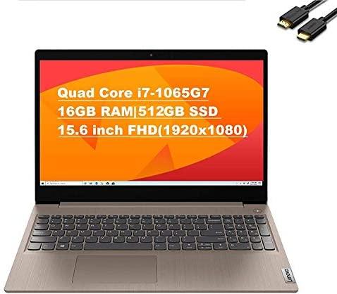 "2020 Lenovo IdeaPad 3 15.6"" FHD (1920x1080) Anti-Glare Business Laptop (Intel Core i7-1065G7, 16GB DDR4 RAM, 512GB SSD, Iris Plus Graphics) Canada Keyboard, Windows 10 + IST Computers HDMI Cable"