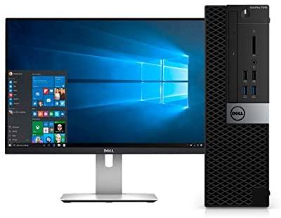 """Dell Optiplex 7040 Small Form Factor Desktop PC, Intel Core i5-6500, 16GB Ram, 2TB SATA Drive + 256GB SSD WiFi, DVD-RW, 24"""" LCD, Windows 10 Pro (Renewed)"""
