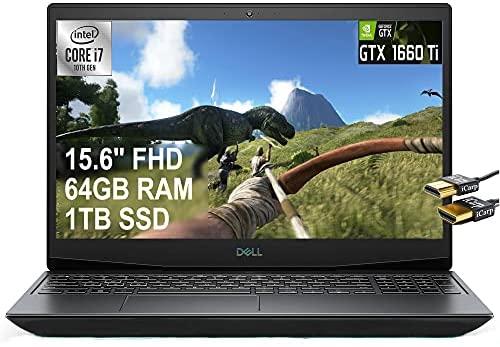 "2021 Flagship Dell G5 15 Gaming Laptop 15.6"" FHD Display 10th Gen Intel 6-Core i7-10750H 64GB RAM 1TB SSD GeFore GTX1660 Ti 6GB Thunderbolt Backlit USB-C Win10 Black + iCarp HDMI Cable"