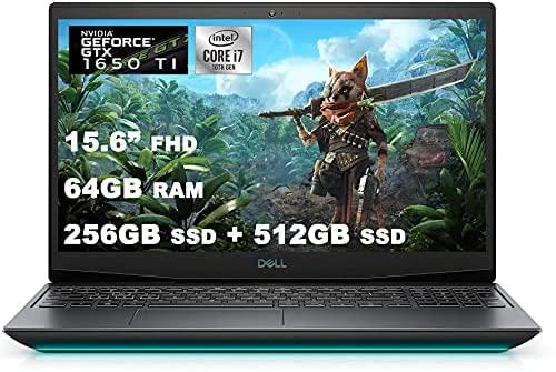 "2021 Flagship Dell G5 15 Gaming Laptop 15.6"" FHD Display 10th Gen Intel Hexa-Core i7-10750H 64GB DDR4 256GB SSD + 512GB SSD GTX 1650 Ti 4GB Backlit Thunderbolt HDMI Webcam Win10 + HDMI Cable"