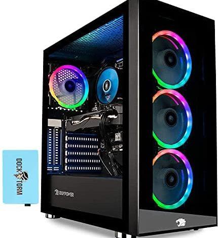 Ibuypower Trace 4 MR Desktop PC (AMD Ryzen 7 3700X 8-Core, 32GB RAM, 512GB m.2 SATA SSD + 1TB HDD (3.5), AMD RX 5700 XT, WiFi, Bluetooth, 2xHDMI, 3 Display Port (DP), Win 10 Home) with Hub