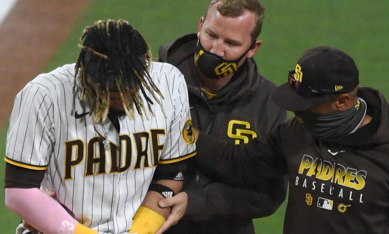 Padres star shortstop Fernando Tatis Jr. injures left shoulder, exits game
