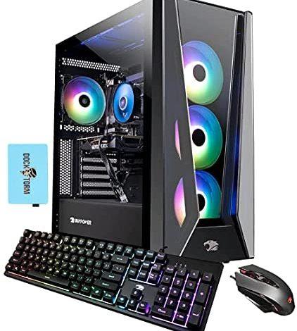 iBUYPOWER Trace 5 MR - 178i Gaming & Entertainment Desktop PC (Intel i7-11700F 8-Core, 128GB RAM, 1TB m.2 SATA SSD + 3TB HDD (3.5), RTX 2060, WiFi, Bluetooth, Win 10 Pro) with Hub