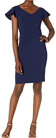 Lark & Ro Women's Flutter Sleeve Double V Neck Sheath Dress