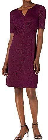 Amazon Brand - Lark & Ro Women's Half Sleeve Twist Front A-Line Ponte Dress