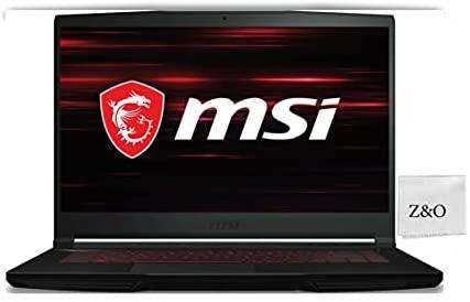 "2021 Newest MSI GF63 Thin Gaming 15 Laptop, 15.6"" FHD IPS Display, 10th Gen Intel i5-10300H (Beats i7-8750H), 8GB RAM, 256GB SSD, GeForce GTX 1650 4GB, Win10, w/Z&O Fiber"