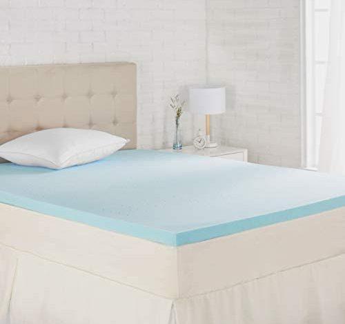 Amazon Basics Cooling Gel-Infused Memory Foam Mattress Topper - Ventilated, CertiPUR-US Certified Foam, 2-Inch - Queen