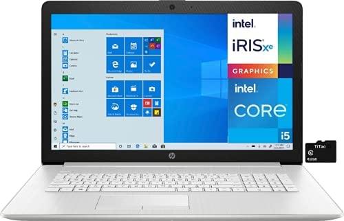 2021 HP 17.3 Laptop Computer Full HD Anti-Glare IPS Display, 11th Gen Intel Quad-Core i5-1135G7 (Beats i7-1065G7), 8GB DDR4 RAM, 256GB SSD, NO DVD RW, WiFi, RJ 45, Webcam, Win 10 S + TiTac SD Card