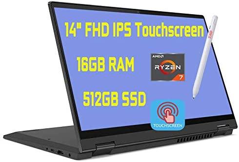 """2020 Premium Lenovo Flex 5 2 in 1 Laptop 14"""" FHD IPS Touchscreen AMD 8-Core Ryzen 7 4700U(Beats i7-10510U) 16GB DDR4 512GB PCIe SSD Dolby Fingerprint Backlit Webcam Win 10 + Pen"""