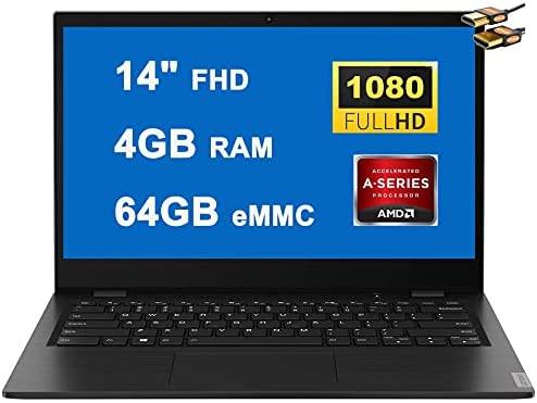 "Lenovo Ideapad 14W Business 14 Laptop Computer 14"" FHD Display AMD 7th Gen A6-9220C APU Processors 4GB RAM 64GB eMMC AMD Radeon R5 Graphics USB-C WIFI5 Win10 Pro + HDMI Cable"