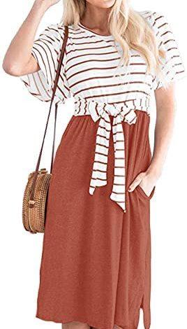 MEROKEETY Women's Summer Striped Ruffle Sleeves Tie Waist Pockets Casual Swing Midi Dress