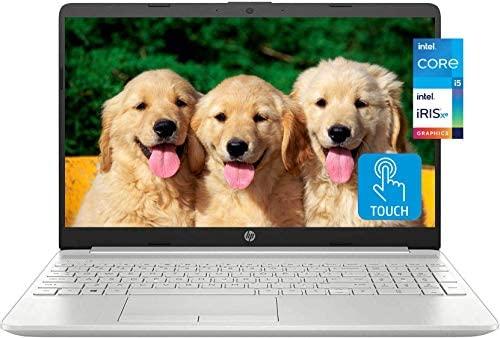 "2021 Newest HP 15 Business Laptop, 15.6"" HD Touchscreen, 11th Gen Intel Core i5-1135G7 Processor, Intel Iris Xe Graphics, 32GB RAM, 1TB SSD, Windows 10 Home, Backlit Keyboard, Silver, KKE Mousepad"