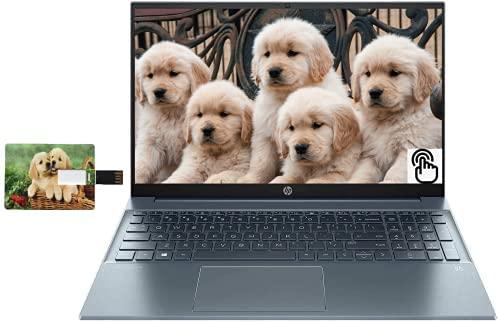 "HP Pavilion 15.6"" FHD Touchscreen Business Laptop, Intel i7-1165G7 32GB RAM 1TB SSD Intel Iris Xe Graphics Webcam Backlit Keyboad Fog Blue Online Class Windows 10 Pro | 32GB Tela USB Card"