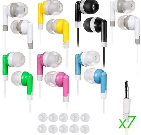 7 Pack Ear Buds for Kids Bulk Headphones Classroom Earbuds School Earphones Color Bud Set Small Children Size Wholesale lot for chromebook Laptop Study Zoom Phone