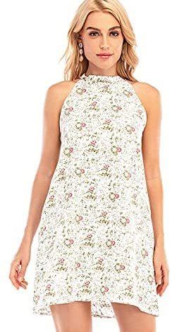ENKA Women's Mini Dress Summer Beach Floral Casual Sleeveless Halter Neck Dresses with Pockets