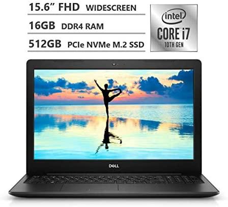 "Dell Inspiron 15 Laptop, 15.6"" Full HD Screen, 10th Gen Intel Core i7-1065G7 Quad-Core Processor up to 3.90GHz, 16GB RAM, 512GB SSD, Fingerprint Reader, HDMI, Wireless-AC, Bluetooth, Windows 10, Black"