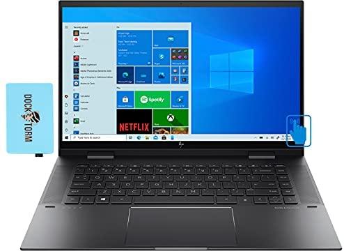 """HP Envy x360 Home & Business 2-in-1 Laptop (AMD Ryzen 5 5500U 6-Core, 16GB RAM, 512GB PCIe SSD, AMD Radeon, 15.6"""" Touch Full HD (1920x1080), Fingerprint, WiFi, Bluetooth, Backlit KB, Win 10) w/Hub"""