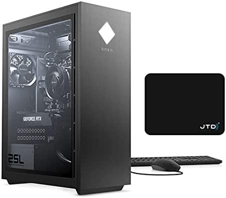 OMEN 25L Gaming Desktop PC Gamer Tower, Intel 8-Core i7 i7-10700 Up to 4.8 GHz, GeForce GTX 1660 Super 6GB (32GB DDR4 RAM | 1TB PCIe SSD | 1TB HDD) RGB Lighting VR Ready WiFi Bluetooth, JTD Mouse Pad