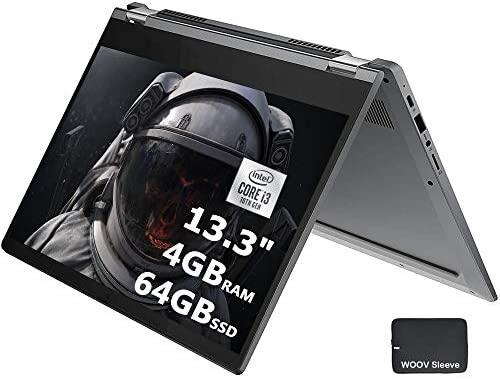"""2020 Lenovo Chromebook Flex 5, 13"""" FHD IPS 250nits Touch Screen Laptop, Intel Dual-Core i3-10110U, Webcam, WiFi 6, Bluetooth 5.0, 4GB DDR4 RAM, 64GB SSD, Bundle Woov Laptop Sleeve, Chrome OS, Grey"""