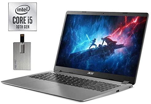 "2021 Acer Aspire 3 15.6"" FHD Laptop Computer, 10th Gen Intel Quad-Core i5-1035G1, 12GB DDR4 RAM, 256GB PCIe SSD, Intel UHD Graphics, Built-in Webcam, HDMI, Windows 10, Black, 32GB SnowBell USB Card"