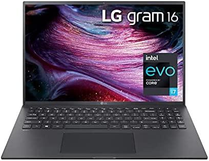 "LG Gram 16Z90P - 16"" WGXGA (2560x1600) Ultra-Lightweight Laptop, Intel evo with 11th gen CORE i7 1165G7 CPU , 16GB RAM, 1TB SSD, Alexa Built-in, 19.5 Hours Battery, Thunderbolt 4, Black - 2021"