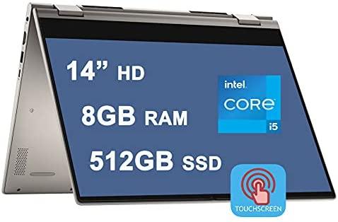 "Dell Flagship Inspiron 14 5000 5406 2 in 1 Laptop 14"" HD Touchscreen 11th Gen Intel 4-Core i5-1135G7 (Beat i7-10710U) 8GB RAM 512GB SSD Backlit Fingerprint USB-C HDMI Win10"