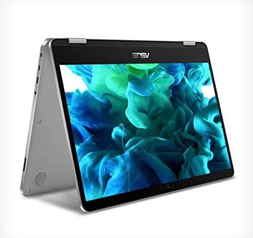 "ASUS VivoBook Flip 14 Thin and Light 2-in-1 Laptop, 14"" HD Touchscreen, Intel Celeron N4020 CPU, 4GB RAM, 128GB Storage, Windows 10 Home S, Microsoft 365, Light Grey, TPM, Fingerprint, J401MA-PS04T"