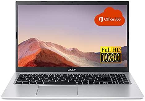 "2021 Acer Aspire Thin and Light Laptop, 15.6"" FHD Display, Intel Celeron Dual-Core N4500 Processor, 8GB RAM, 256GB SSD, Webcam, WiFi, HDMI, Bluetooth, Windows 10, Pure Silver + One Year Office365"