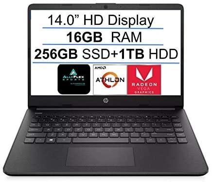 2021 Newest HP 14 Inch Premium Laptop, AMD Athlon Silver 3050U up to 3.2 GHz(Beat i5-7200U), 16GB DDR4 RAM, 256GB SSD+1TB HDD, Bluetooth, Webcam,WiFi,Type-C, HDMI, Windows 10 S, Black + AllyFlex MP
