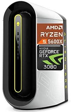 2021 Newest Dell Alienware Aurora R10 Gaming Desktop, GeForce RTX 3080 10GB GDDR6X, AMD Ryzen 5 5600X, 8GB HyperX DDR4 XMP 3200MHz, 1TB HDD, Lunar Light White, Liquid Cooling, 1000W PSU, Killer Wifi 6