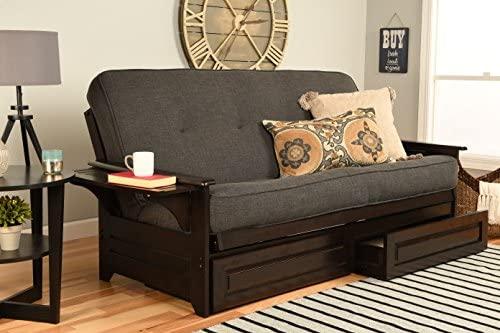 Kodiak Furniture Phoenix Full Size Futon in Espresso Finish with Storage Drawers, Linen Charcoal