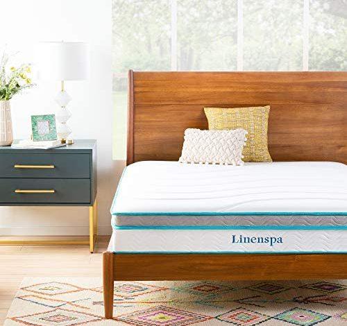 Linenspa 10 Inch Memory Foam and Innerspring Hybrid Medium Feel-Full Mattress, White
