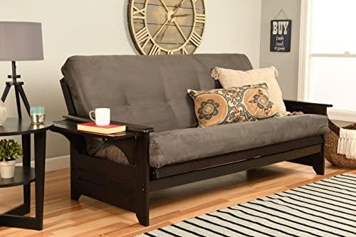Kodiak Furniture Phoenix Full Size Futon In Espresso Finish, Suede Gray