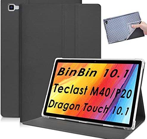 DETUOSI Leather Case Compatible with Teclast M40, Teclast P20HD, BinBin 10.1, Dragon Touch Notepad 102, Pritom TronPad L10, Winnovo WinTab P20, YESTEL T5 10.1, Blackview Tab 8E 10.1 Tablet #Black