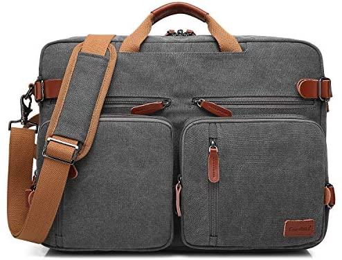 CoolBELL Convertible Backpack Messenger Bag Shoulder Bag Laptop Case Handbag Business Briefcase Multi-Functional Travel Rucksack Fits 15.6 Inch Laptop for Men/Women (Cancas Dark Grey)