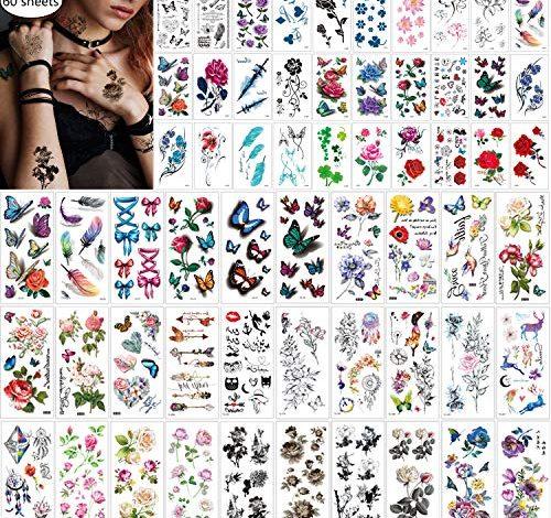 60 Sheets Waterproof Butterfly Flower Temporary Tattoos Stickers for Women,Multiple Design Styles