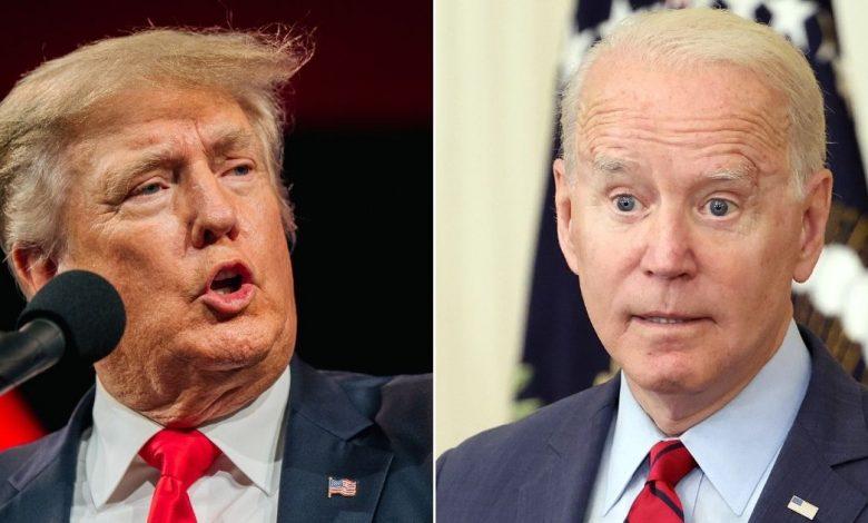 Former President Donald Trump, left, and President Joe Biden, right.
