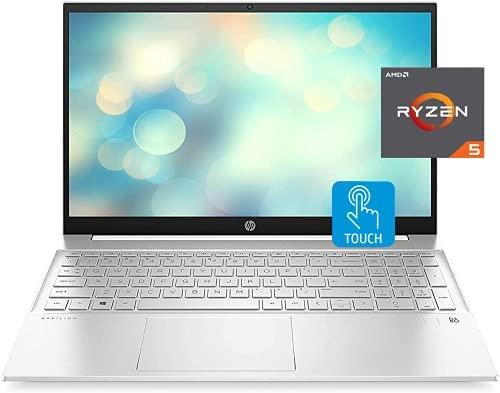 "HP 2021 Pavilion Laptop, 15.6"" FHD Touchscreen, AMD Ryzen 5 5500U Processor 2.1GHz to 4.0GHz, 64GB RAM, 1TB SSD, Webcam, B&O Audio, WiFi 6, Bluetooth, Backlit Keyboard, Numeric Keypad, Win 10 Home"