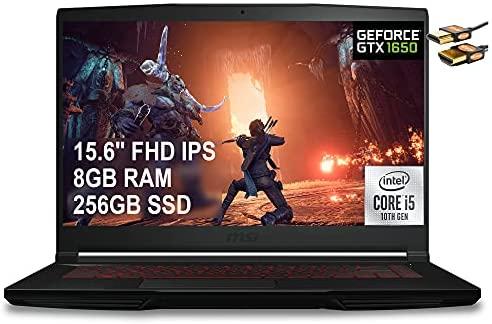 "MSI GF63 Thin 2021 Flagship 15 Gaming Laptop 15.6"" FHD IPS Display 10th Gen Intel Quad-Core i5-10300H (Beats i7-8750H) 8GB RAM 256GB SSD GeForce GTX 1650 4GB Backlit Win10 Black + HDMI Cable"