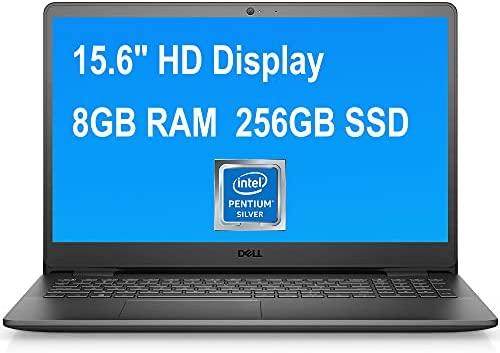 "Dell Flagship Inspiron 15 3000 3502 Laptop 15.6"" HD Anti-Glare Narrow Border Display Intel Quad-Core Pentium Silver N5030 8GB RAM 256GB SSD HDMI USB 3.2 WiFi5 Win10 Pro Black"