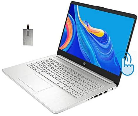 "2021 HP 14"" HD Touchscreen Laptop Computer, AMD Ryzen 3-3250U Processor, 32GB RAM, 1TB SSD, HD Audio, 720p HD Webcam, AMD Radeon Graphics, Bluetooth, HDMI, Windows 10, Silver, 32GB SnowBell USB Card"